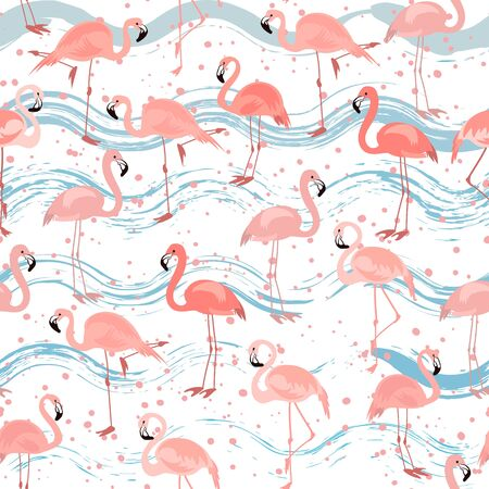 Tropical seamless pattern with bright tropical bird pink flamingo on white background with blue stripes.  Vector summer background for stylish fabric design