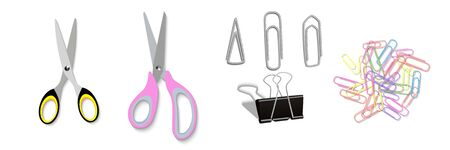 Realistic concept of office supplies scissors, colorful paper clips, metal clips of various shapes, binder. Office supply school. Office and education equipment. Vector illustration