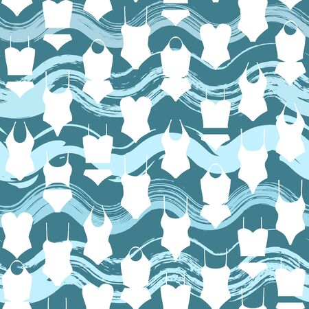 Female swimwear seamless pattern isolated on waves background. Bathing suit design. Female swimwear for swimming at ocean, sea, pool apparel. Vector summer design for fabrics Vettoriali
