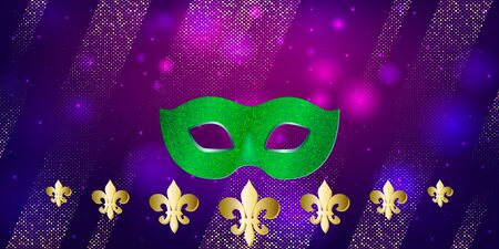 Horizontal pattern beautiful Carnival mask on dark night background with flashes of light. Mardi Gras Party.