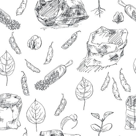 Seamless pattern with ink hand drawn legume crops isolated on white. Vector black and white Illustration in sketch style. Ideal for the design of fabrics, packaging materials, organic farm products