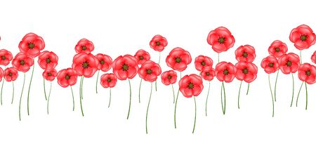 Horizontal seamless pattern red poppies isolated on white background. Bright flowers poppies perfect fit for design cover, textile, fabric, wallpaper, wrapping, card. Vector Illustration