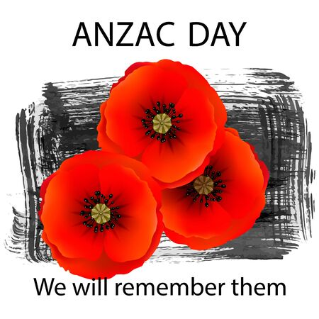 Anzac day background with red abstract poppies. Red poppies on a background of hand drawn ink grunge strokes. Remembrance Day vector illustration. Design element for poster, banner, web design Vector Illustratie