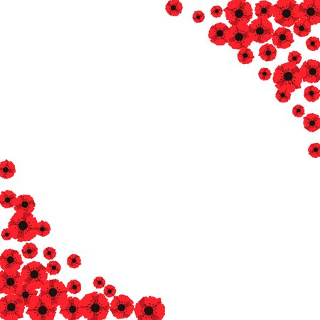Anzac day. Frame of red abstract poppies. Red poppies isolated on white background. Remembrance Day vector illustration. Design element for poster, banner, web design