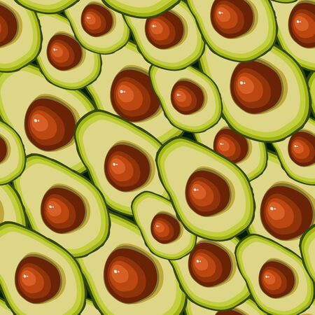 Seamless pattern of halved avocado fruit with bone isolated on dark background. Vector illustration Ideal for the design of fabrics, packaging materials, organic farm products