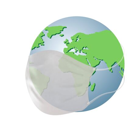 Earth planet with medical mask isolated on white background. Global quarantine. Concept of quarantine world pandemic, pandemic medical health risk, quarantine, respiratory virus. Vector Ilustração
