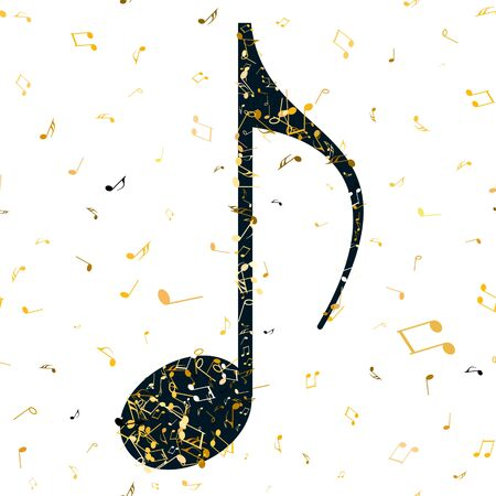 Musical note on seamless background with flying musical notes. Beautiful musical notation symphony for banner of festival, print design, melody recording, design back layers Ilustração