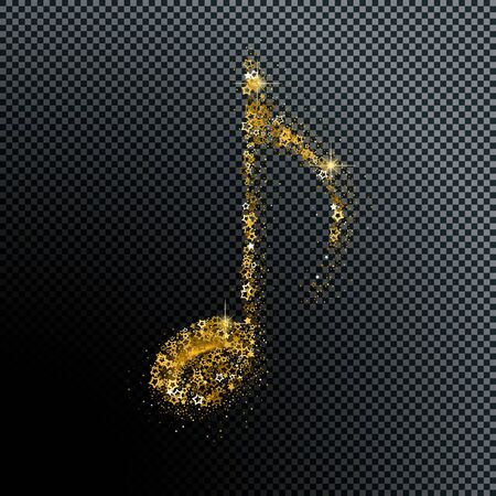 Luxury shiny goldennote on transparent black. Symbol for banner of festival, print design, melody recording, design back layers. Colorful musical notation symphony signs, notes for sound tune music Ilustração
