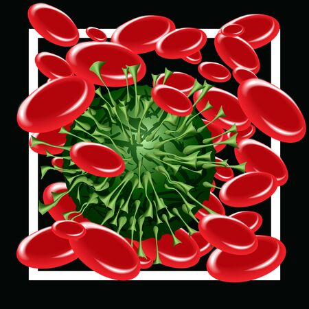 Virus in blood. Coronavirus covid-19 attacking red blood cells. Concept of coronavirus quarantine, pandemic medical health risk, quarantine and respiratory virus. Vector