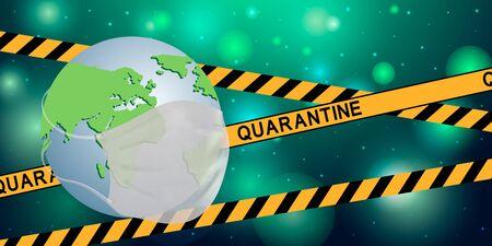 Earth globe with yellow tape with the inscription QUARANTINE. Global quarantine on coronavirus outbreak. Concept of quarantine world pandemic, pandemic medical health risk, quarantine virus. Vector