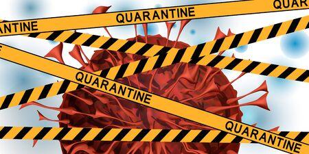 Coronavirus with yellow tape with the inscription QUARANTINE. Global quarantine on coronavirus outbreak. Concept of quarantine world pandemic, pandemic medical health risk, quarantine virus. Vector