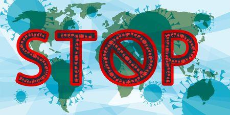 Sign Stop coronavirus. Coronavirus COVID-19, sticker Stop Coronavirus isolated on white. Concept of coronavirus quarantine, pandemic medical health risk, quarantine and respiratory virus. Vector