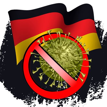 Coronavirus in protective medical mask on the background of the flag of Germany. Concept of coronavirus quarantine, pandemic medical health risk, of closing state borders and pandemic control. Vector