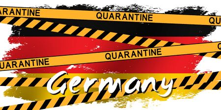 Yellow tape with the inscription QUARANTINE on the flag of Germany. Global quarantine on coronavirus outbreak. Concept of quarantine world pandemic, pandemic medical health risk. Vector Ilustração