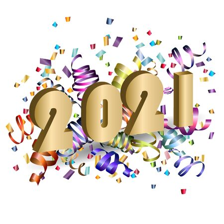 2021.  New Year card with gold 3d numbers 2021 and  colorful serpentine against a light background. Great for design New year party posters, holidays card, header for website. Vector illustration