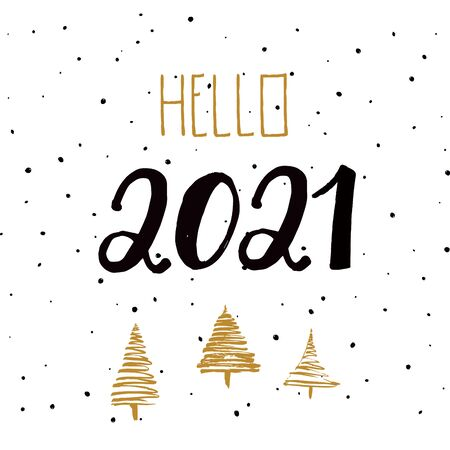 21 New Year. 2021 grunge numbers, falling snow, golden christmas trees on white background. Hand written lettering. Great for design New year party posters, holidays card, header for website. Vector
