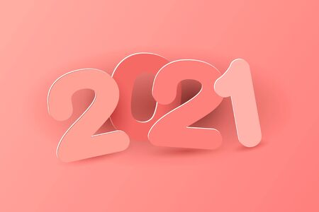 New year 2021 paper cut numbers in delicate pink colors. Multicolor inscription 2021. Decorative greeting card 2021 new year. Vector illustration