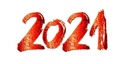 2021 New Year. 2021 red numbers on a white background. Hand written lettering. Great for design New year party posters, holidays card, header for website. Vector illustration Ilustração