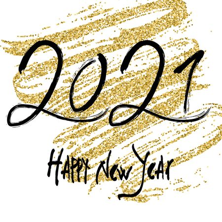 21 New Year. 2021 grunge numbers, falling golden snow on white background. Hand written lettering. Great for design New year party posters, holidays card, header for website. Vector illustration