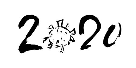 2020 year handwritten numbers and microorganism isolated on white background. Vector illustration of the year two thousand twenty with coronavirus Covid-19 image Ilustração