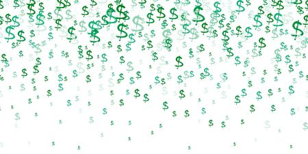 Horizontal Seamless Pattern of the symbols of dollar currency on white. Green vector background with signs of dollars. The pattern can be used for your ad, poster, banner of USD money. Vector Ilustração