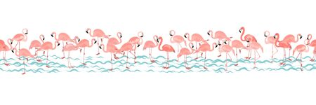 Horizontal tropical seamless pattern with bright tropical bird pink flamingo on white background with blue stripes. Vector summer background for stylish fabric design