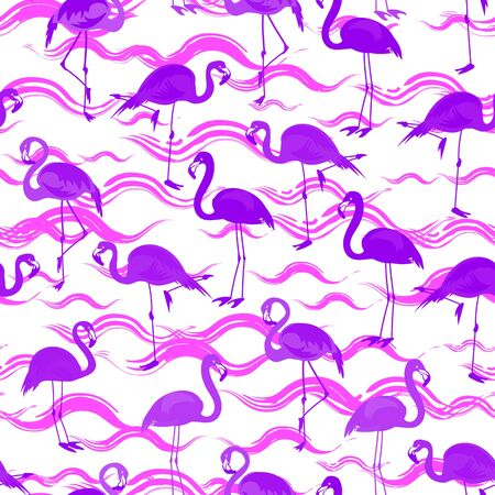 Tropical seamless pattern with bright tropical flamingo birds standing on wavy stripes of water in pink and purple colors on a white background. Vector summer background for stylish fabric design.