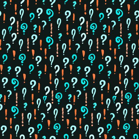 Seamless pattern of hand drawn question and exclamation marks scattered on black background. Colorful poll template. Design for query background, faq, interrogation,  quiz, poll. Vector illustration Ilustração
