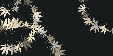 Horizontal pattern with marijuana hemp leaves isolated on black. Hand drawn cannabis leaves. Marijuana Legalization. Template for packaging materials, banner, web design. Vector Ilustração