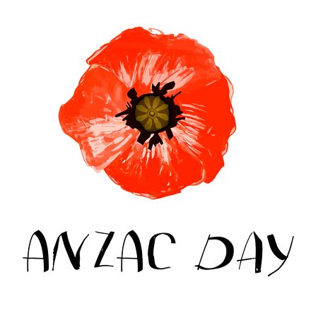 Anzac day background with red abstract poppies. Red poppies Isolated on white background. Remembrance Day vector illustration. Design element for poster, banner, web design