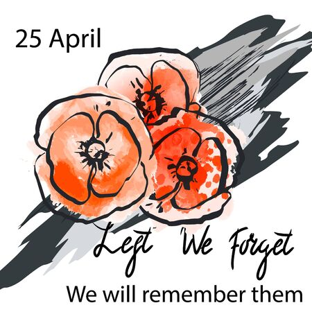 Anzac day background with red abstract poppies. Red poppies on a background of hand drawn ink grunge strokes. Remembrance Day vector illustration. Design element for poster, banner, web design