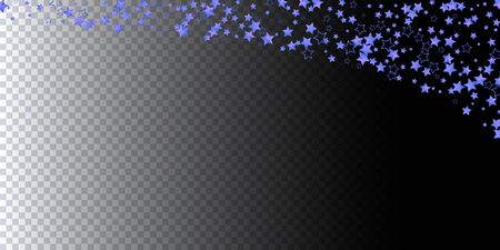 Beautiful pattern 3d blue stars fly. Blue sparkling background with star dust isolated on black background. Frame of little shining stars. Luxury shiny random stellar falling. Vector
