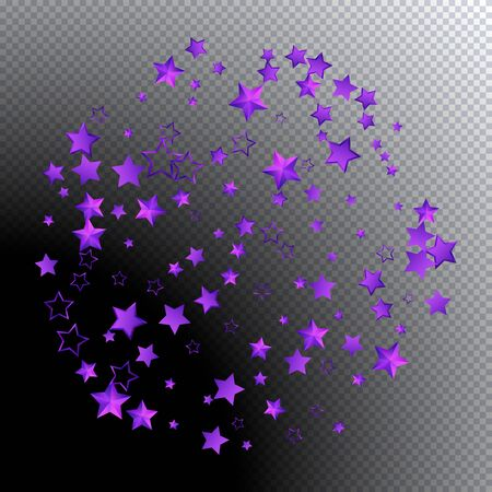 Beautiful pattern 3d pink stars fly. Pink sparkling background with star dust isolated on black background. Frame of little shining stars. Luxury shiny random stellar falling. Vector