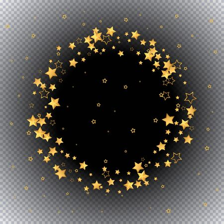Beautiful pattern 3d golden stars fly. Gold sparkling background with star dust isolated on black background. Frame of little shining stars. Luxury shiny random stellar falling. Vector  Ilustração