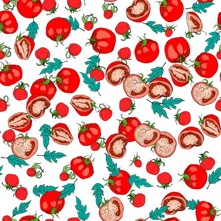 Seamless pattern of sketches with cut tomato, slice of tomato and tomatoes isolated on white background. Ideal for the design of fabrics, packaging materials, organic farm products. Vector