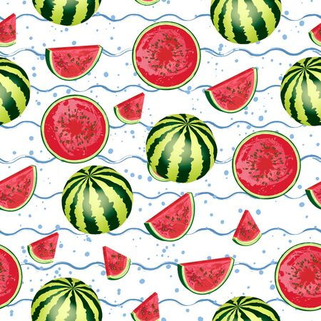 Seamless pattern of watermelon, slice of watermelon isolated on blue wavy stripes, dots. National Watermelon Day. Ideal for the design of fabrics, packaging materials, organic farm products. Vector