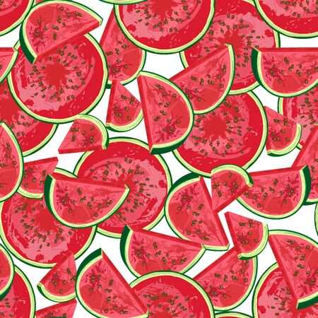 Seamless pattern of realistic watermelon, slice of watermelon isolated on white background. National Watermelon Day. Ideal for the design of fabrics, packaging materials, organic farm products. Vector