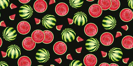 Seamless pattern of realistic watermelon, slice of watermelon isolated on black  background. National Watermelon Day. Ideal for the design of fabrics, packaging materials, organic farm products. Vector Иллюстрация
