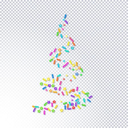 Sprinkle with grains of desserts. Abstract pattern bright colorful sprinkles grainy with shadow isolated on transparent. Design for holiday designs, party, birthday, invitation. Vector sweet confetti