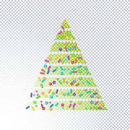Sprinkle with grains of desserts. Abstract transparent christmas tree sprinkles grainy with shadow on transparent. Design for holiday designs, party, birthday, invitation. Vector sweet confetti