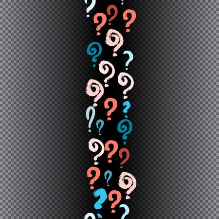 Seamless pattern of hand drawn question marks scattered on black transparent background. Colorful poll template. Design for query background, faq, interrogation, quiz, poll. Vector illustration