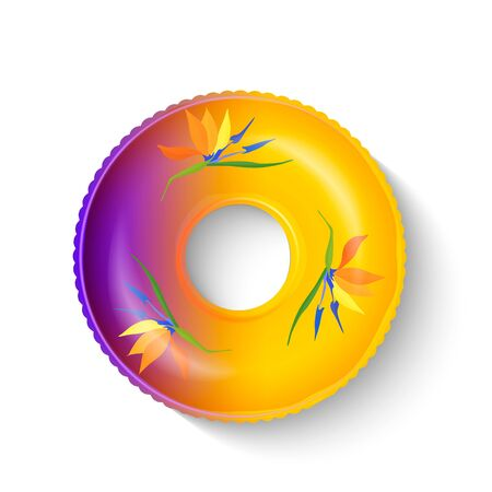 Realistic swimming inflatable circle with a pattern of with strelitzia flowers. Pool float. Inflatable colorful unicorn. Swimming circle. Life buoy. Realistic summertime illustration. Vector template