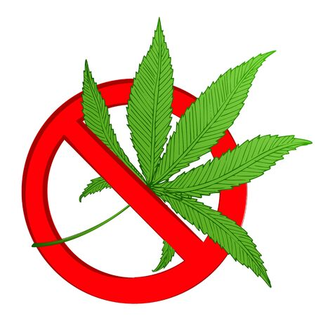 Stop marijuana. Vector cannabis leaf forbidding sign isolated on white. Green cannabis leaf in red circle as prohibition symbol or narcotic pictogram. Ban hemp icon. Prohibition bad human habit symbol