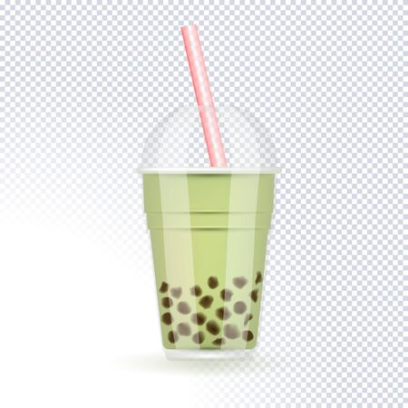 Tapioca black pearls bubble milk tea isolated on transparent background. Taiwanese tea-based drink with chewy tapioca ball. The Bubble Tea is Taiwanese famous and popular drink. 3d vector illustration