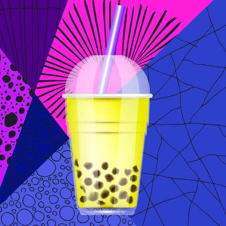 Tapioca black pearls bubble milk tea isolated on bright abstract hand-drawn patterns. Taiwanese tea-based drink with chewy tapioca ball. The Bubble Tea is Taiwanese famous and popular drink. Vector Çizim