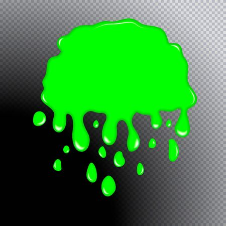 Glitter slime dripping isolated on transparent background. Glossy goo green slime blots. Realistic radioactive slime drips and flowing. Popular kids sensory toy vector illustration