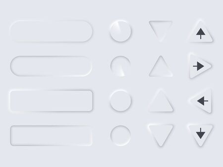 Set editable neomorphic buttons isolated on light background. Neomorphism designs element UI components. Great for design websites and social media. Vector illustration Çizim