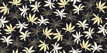 Horizontal seamless pattern with marijuana hemp leaves isolated on black. Hand drawn cannabis leaves. Marijuana Legalization. Template for textile , packaging materials, banner, web design. Vector