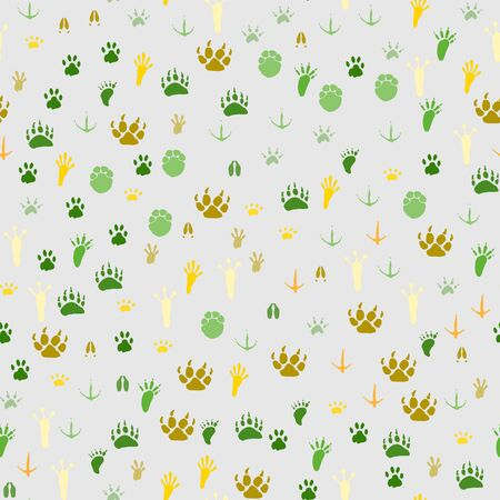 Seamless pattern with traces of various animals and birds isolated on a light gray background. Warm endless seamless colorful traces of a bear, wild boar and other wild animals. Vector illustration