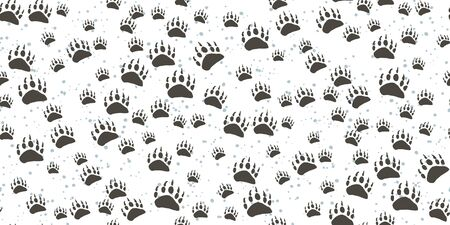 Seamless pattern with traces of wild animals isolated on a white background. Dark traces of a bear. Vector illustration